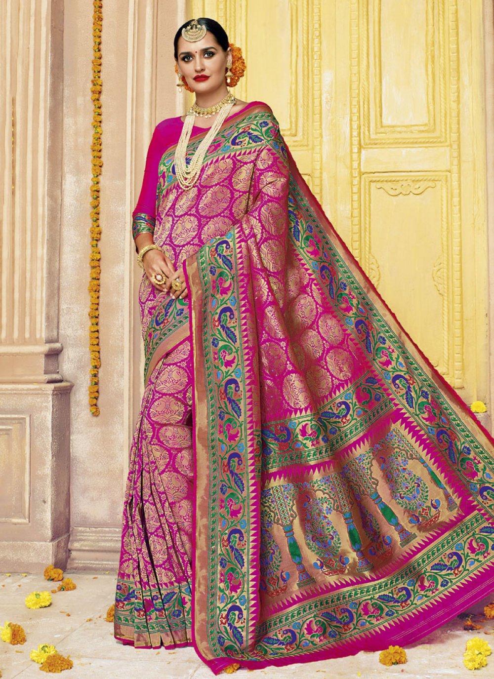 Abstract Print Work Banarasi Silk Designer Saree
