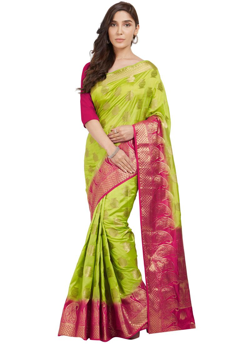 Abstract Print Work Green Silk Traditional  Saree