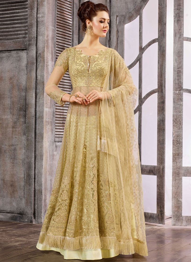 Amazing Beige Colored Embroidered Anarkali Suit - Salwar ... - photo#49