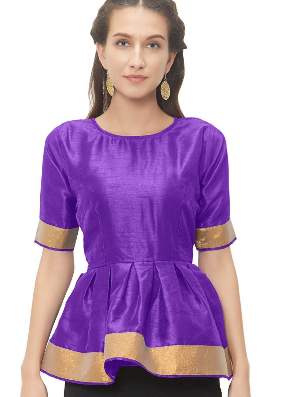 Appealing Purple Color Blouse With Lace Work