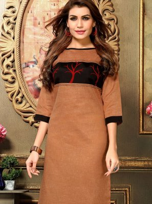 Applique Brown Cotton   Casual Kurti