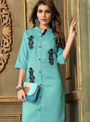 Applique Cotton   Party Wear Kurti