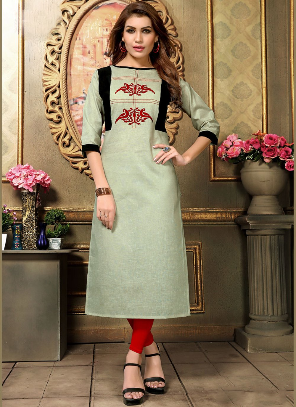 Applique Green Cotton   Casual Kurti