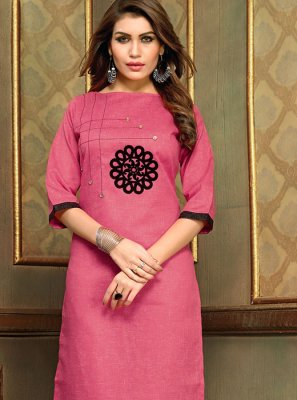 Applique Hot Pink Cotton   Party Wear Kurti