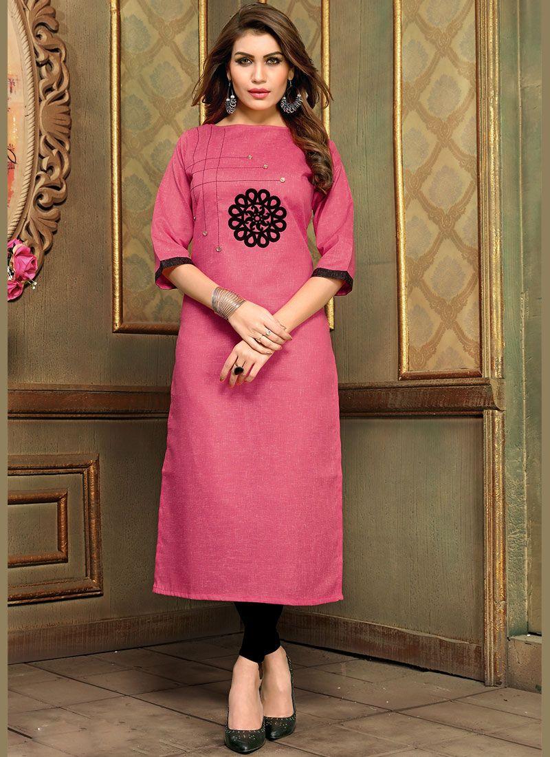 Applique Hot Pink Cotton   Party Wear Kurti