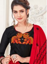 Red and Black Embroidered Churidar Designer Suit