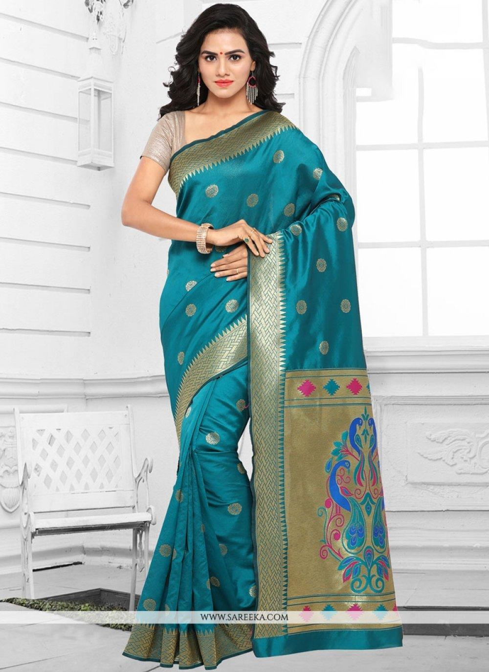Aqua Blue woven Work Kanchipuram silk Traditional  Saree