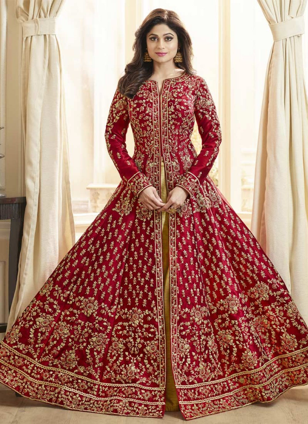 Art Silk Anarkali Salwar Kameez in Red