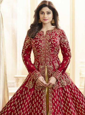 Art Silk Anarkali Salwar Kameez in Red