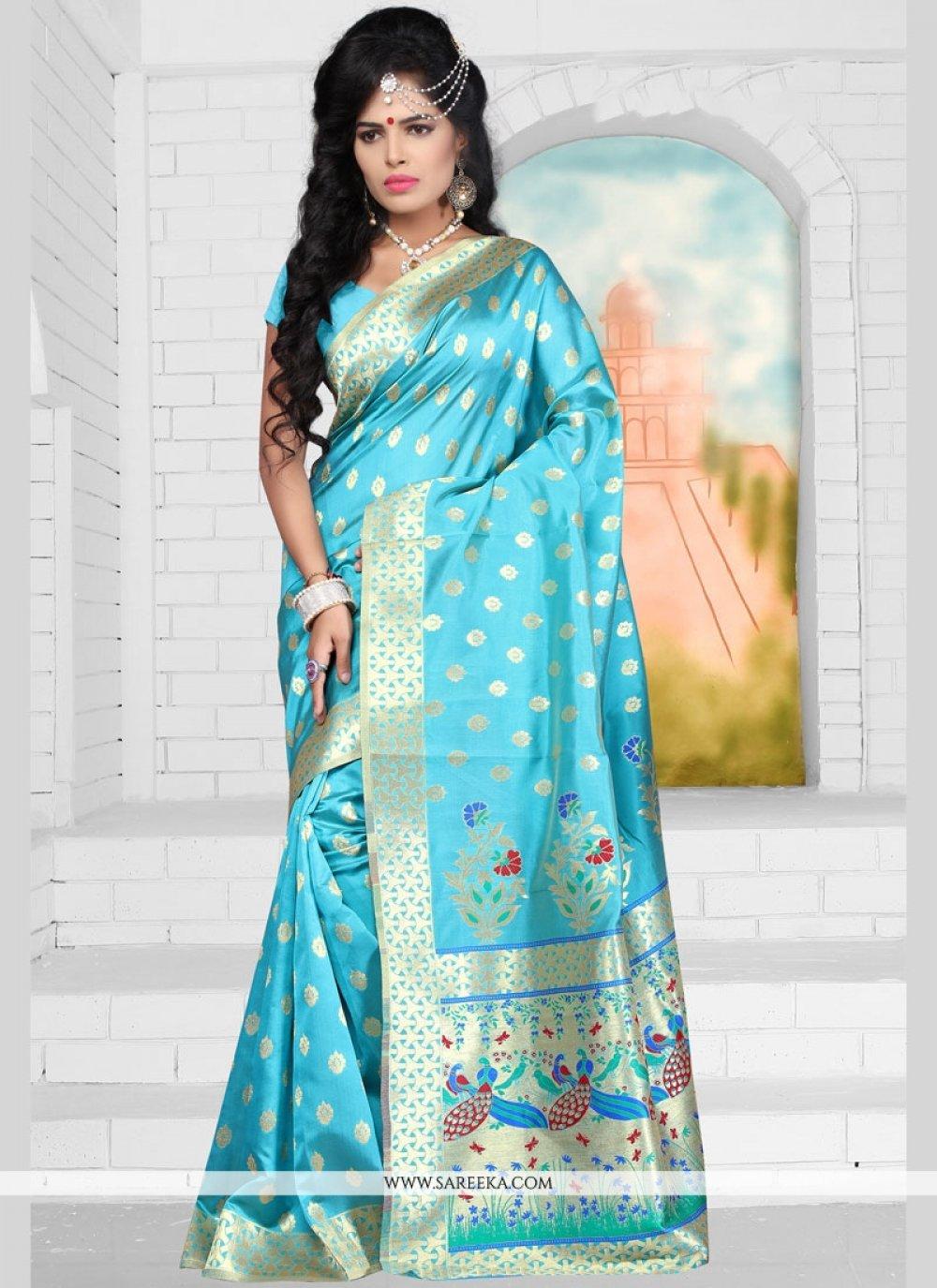 Art Silk Aqua Blue Traditional Designer Saree