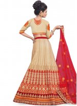 Art Silk Beige and Maroon Resham Work Lehenga Choli