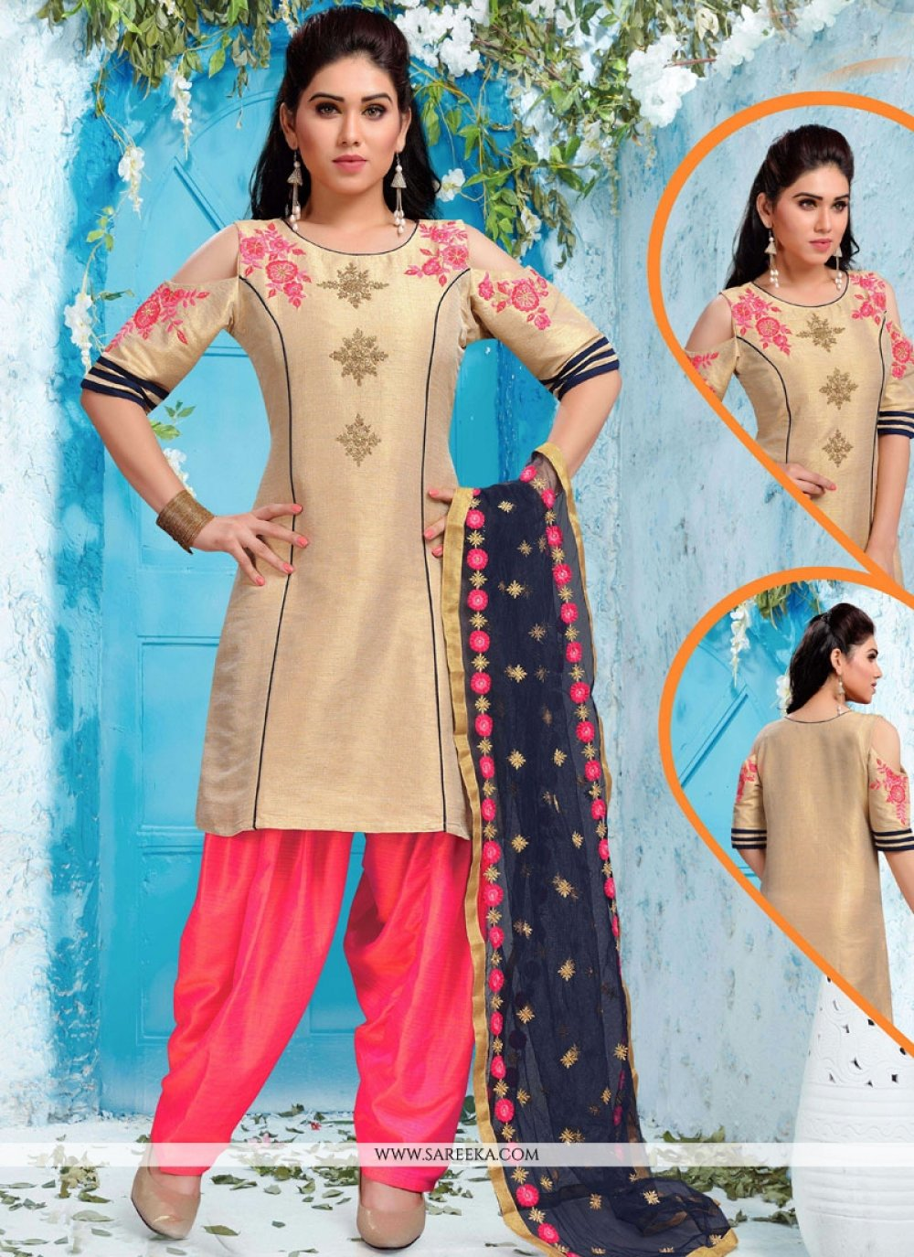 Art Silk Beige and Pink Readymade Suit