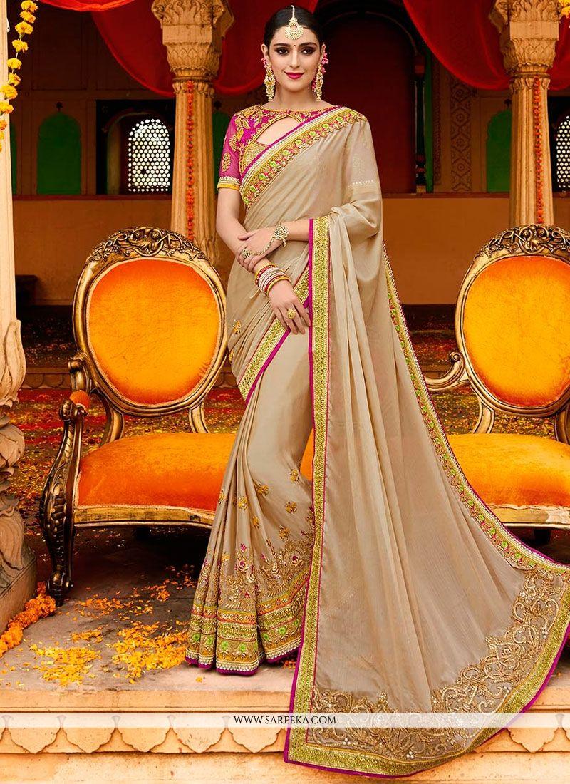 Art Silk Beige Classic Designer Saree