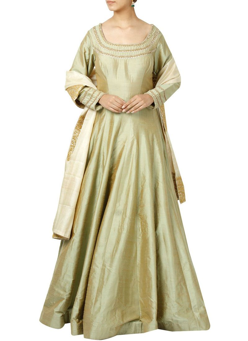 Art Silk Beige Embroidered Work Floor Length Anarkali Suit
