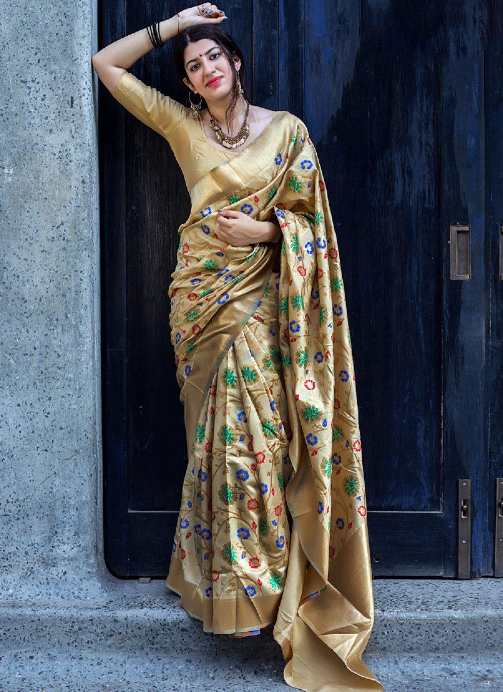 Art Silk Beige Traditional Designer Saree