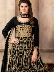 Art Silk Black Floor Length Anarkali Suit
