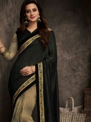 Art Silk Black Patch Border Traditional Designer Saree