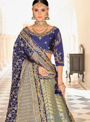 Art Silk Blue and Grey Lehenga Choli