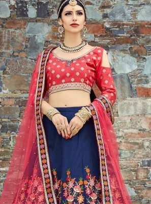 Art Silk Blue and Red Lehenga Choli
