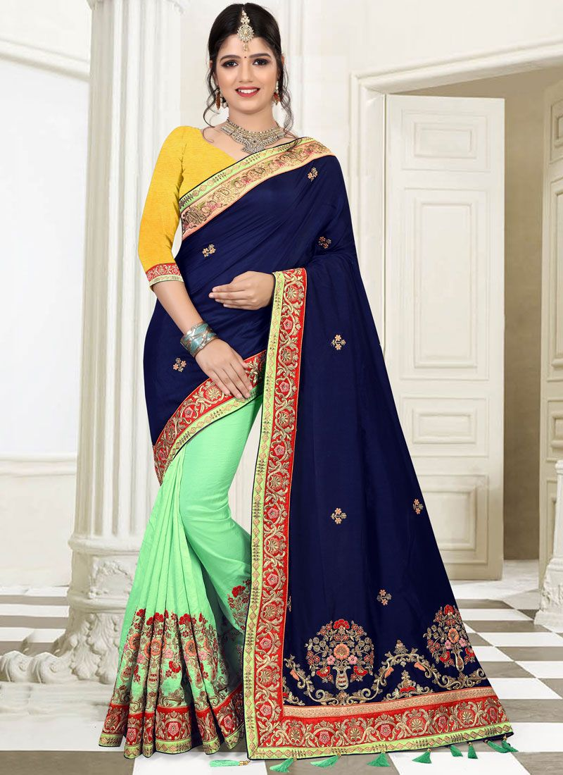 Art Silk Blue and Sea Green Patch Border Work Designer Half N Half Saree