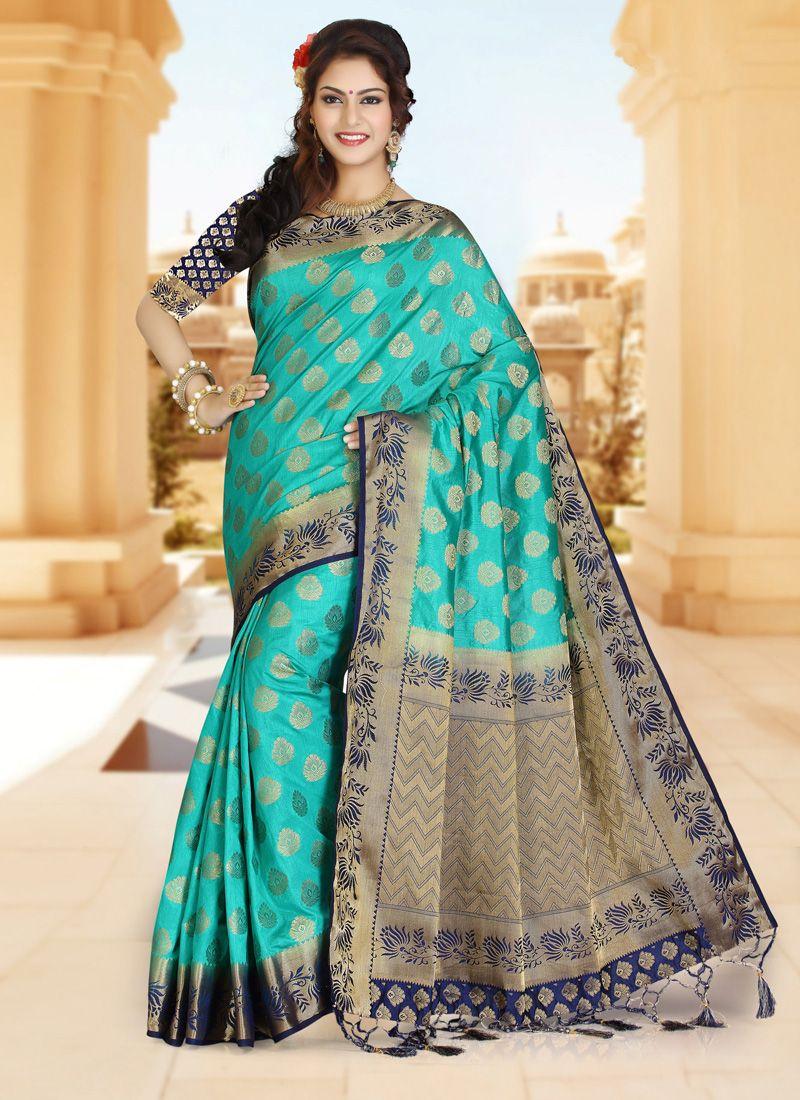 Art Silk Blue and Turquoise Zari Work Classic Designer Saree