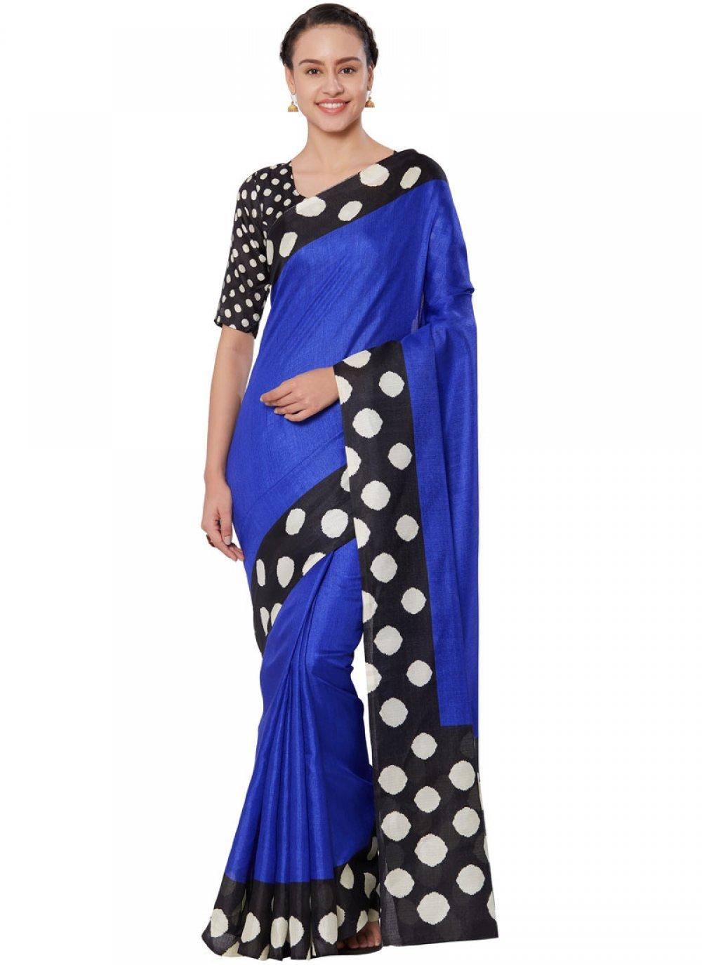 Art Silk Blue Casual Saree