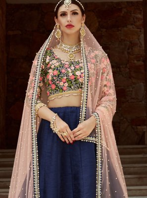Art Silk Blue Designer Lehenga Choli