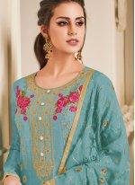 Art Silk Blue Embroidered Churidar Designer Suit