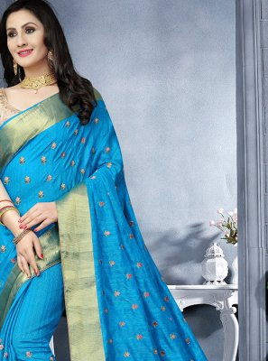 Art Silk Blue Embroidered Classic Saree