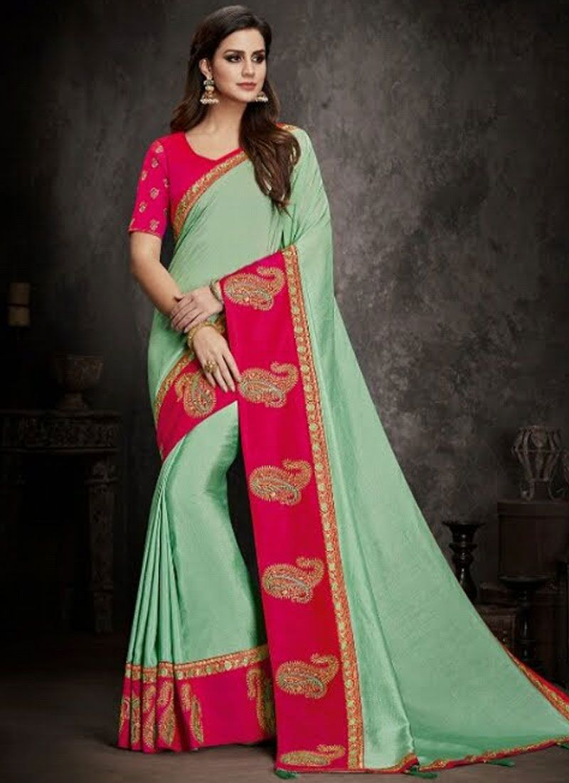 Art Silk Blue Embroidered Traditional Saree