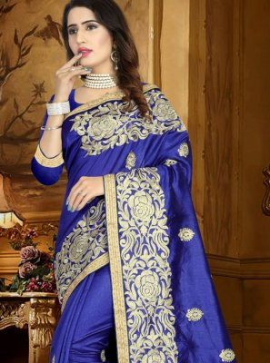 Art Silk Blue Lace Work Traditional Designer Saree