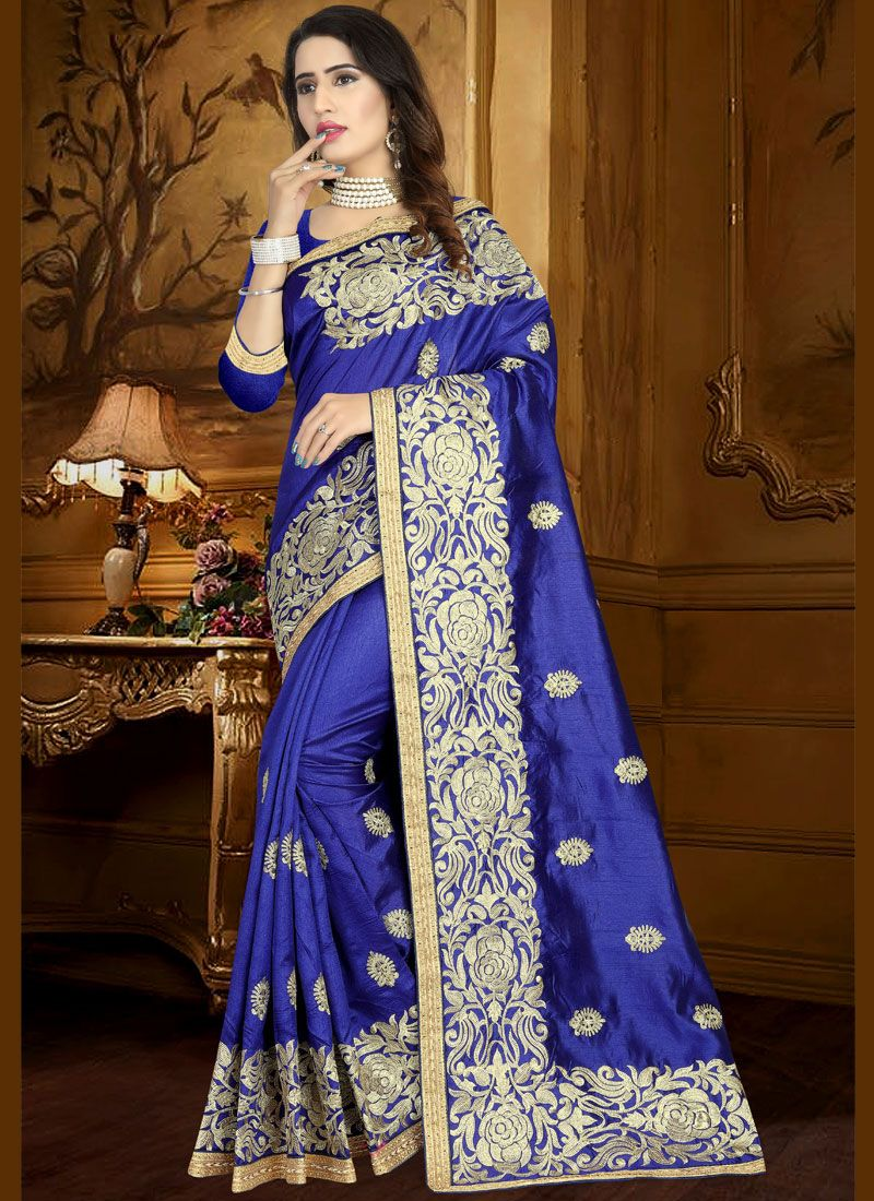 eef62a364e5a7c Buy Art Silk Blue Lace Work Traditional Designer Saree Online -