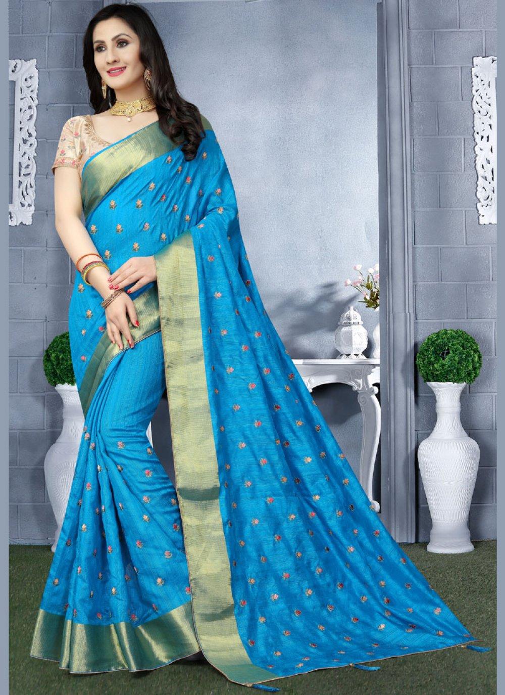 Art Silk Blue Patch Border Classic Saree