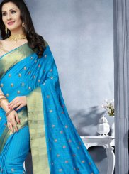 Art Silk Blue Patch Border Classic Saree