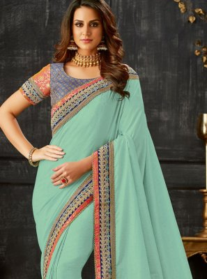 Art Silk Blue Patch Border Designer Traditional Saree