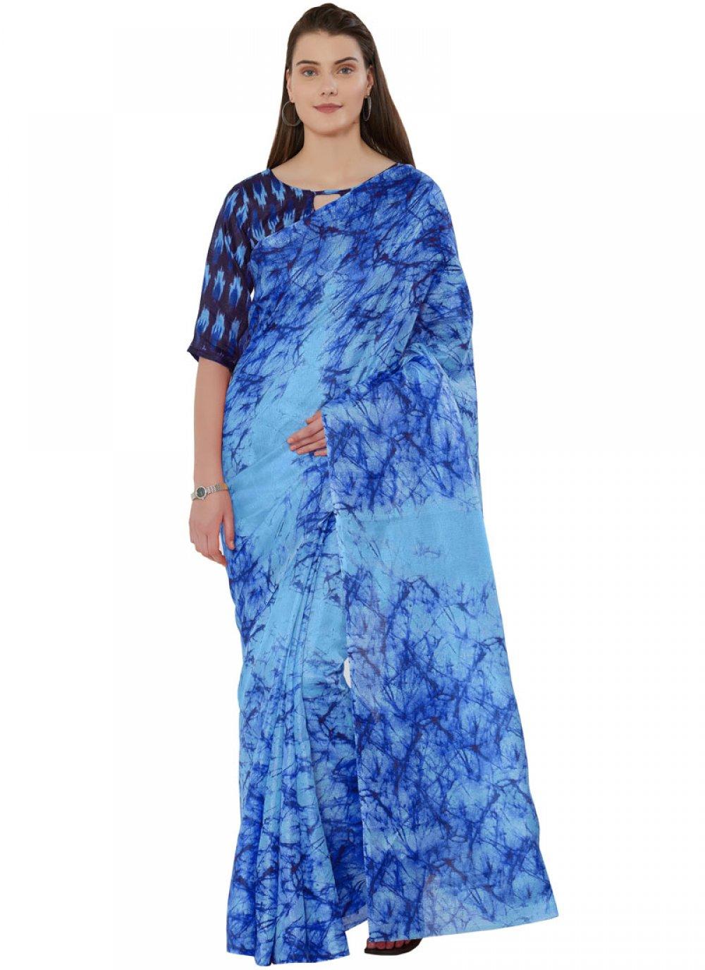 Art Silk Blue Printed Casual Saree