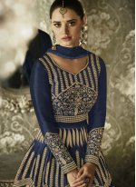 Art Silk Blue Resham Work Floor Length Anarkali Suit
