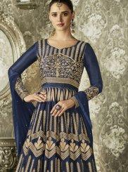 Art Silk Blue Resham Work Floor Length Anarkali Suit