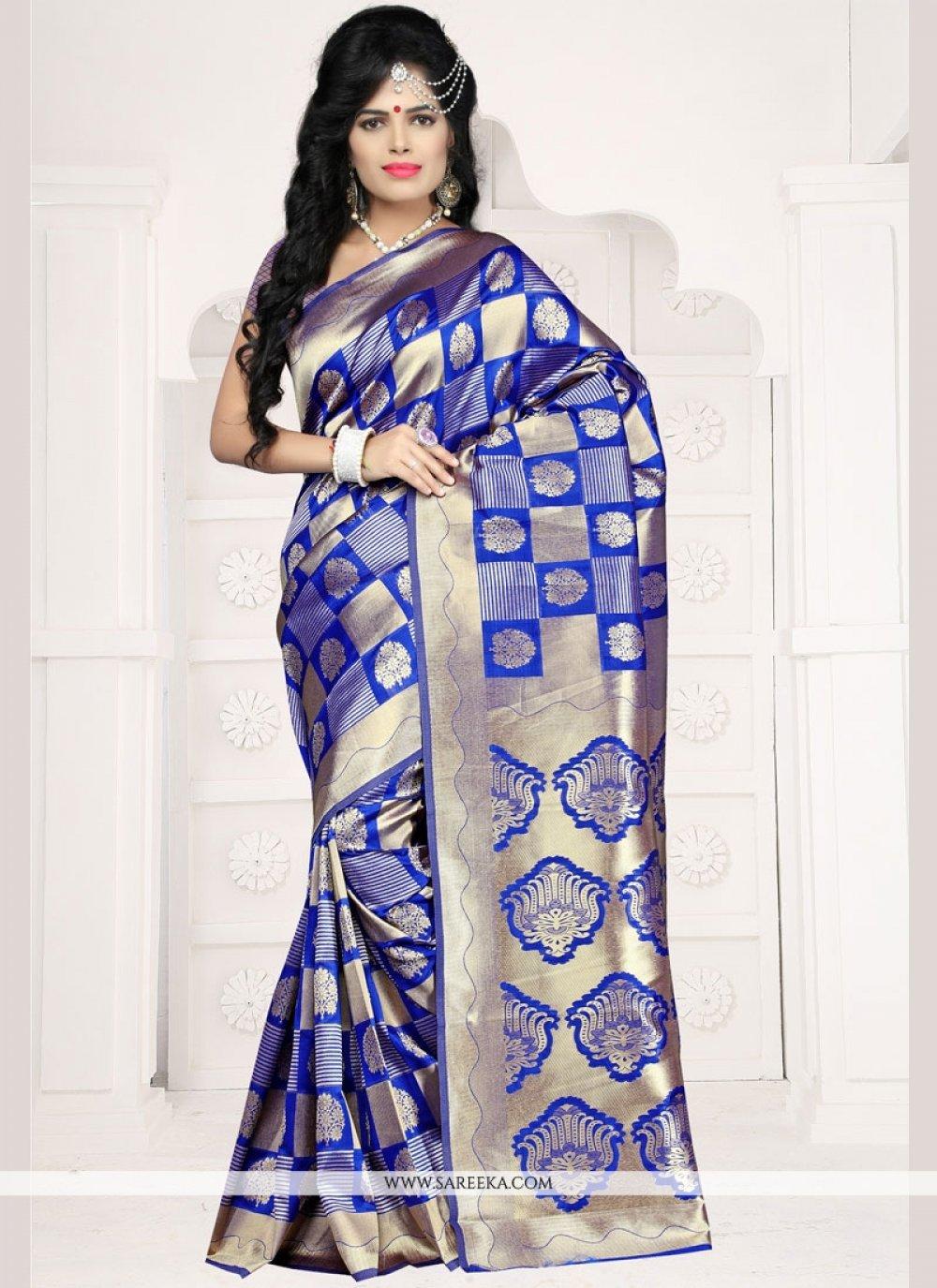 Art Silk Blue Weaving Work Designer Traditional Saree