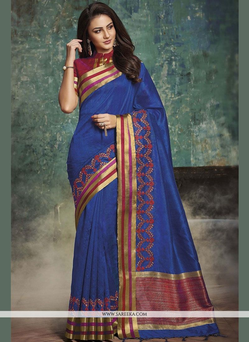 Art Silk Blue woven Work Designer Traditional Saree