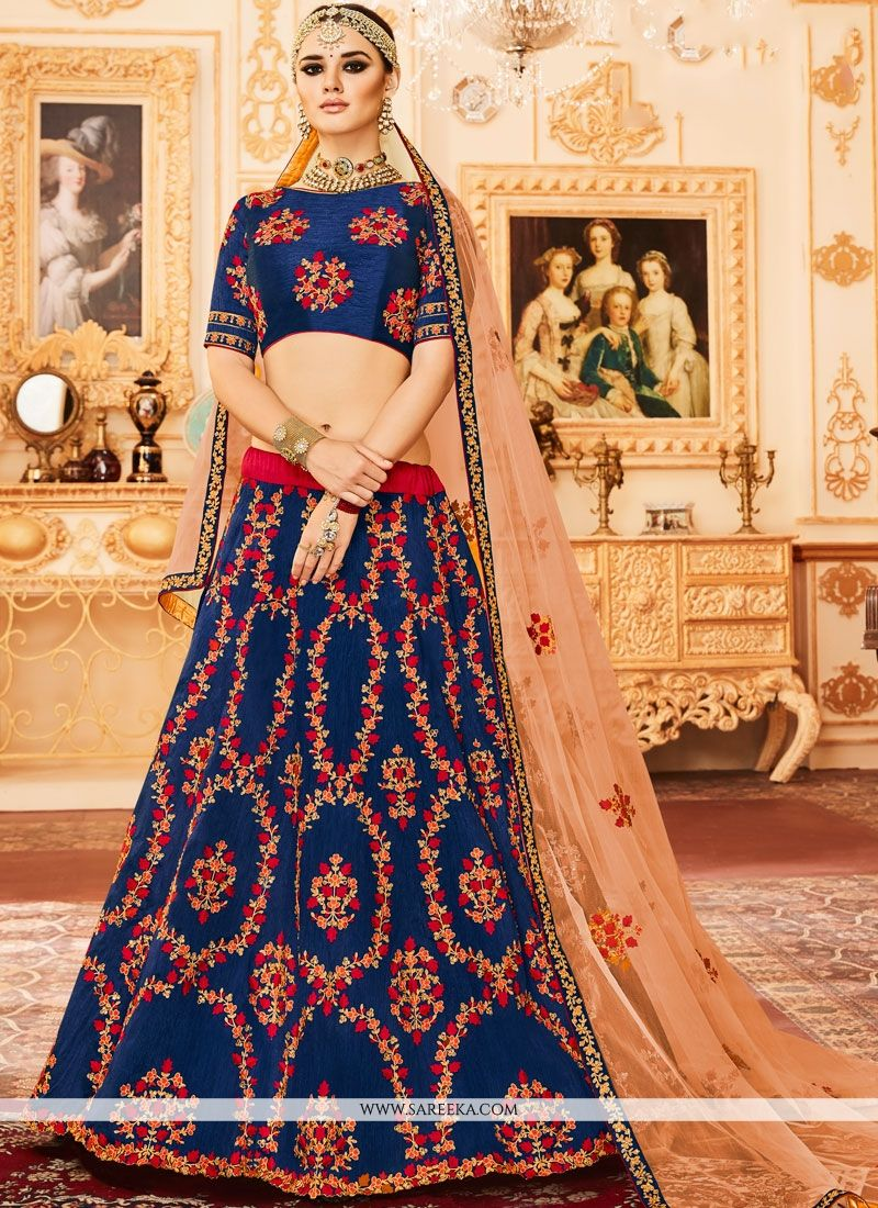 Art Silk Blue Zari Work Lehenga Choli