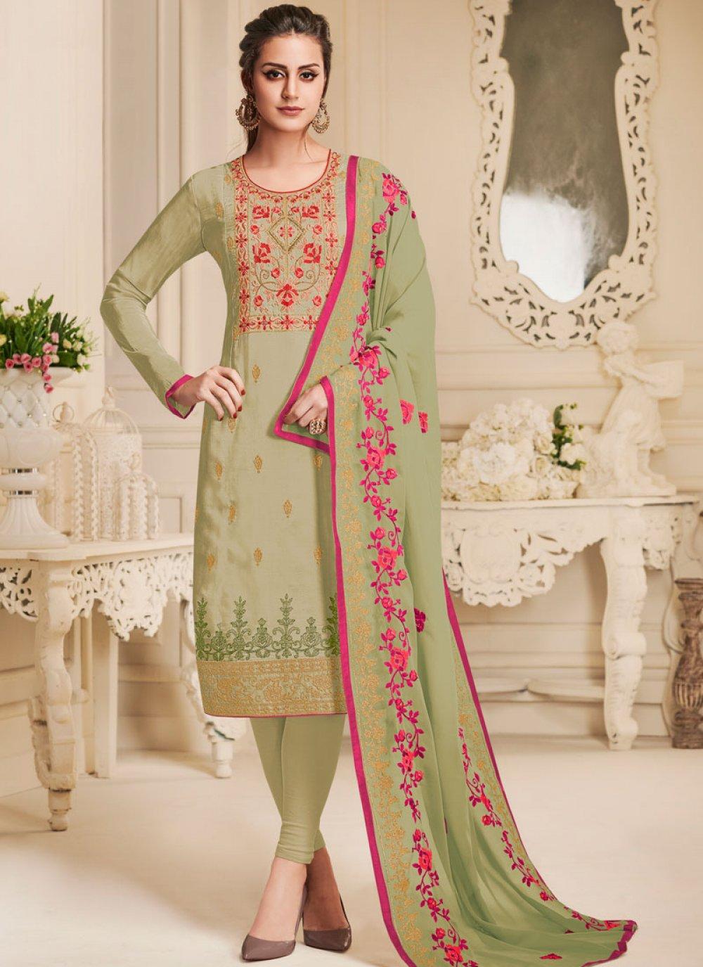 Art Silk Churidar Designer Suit