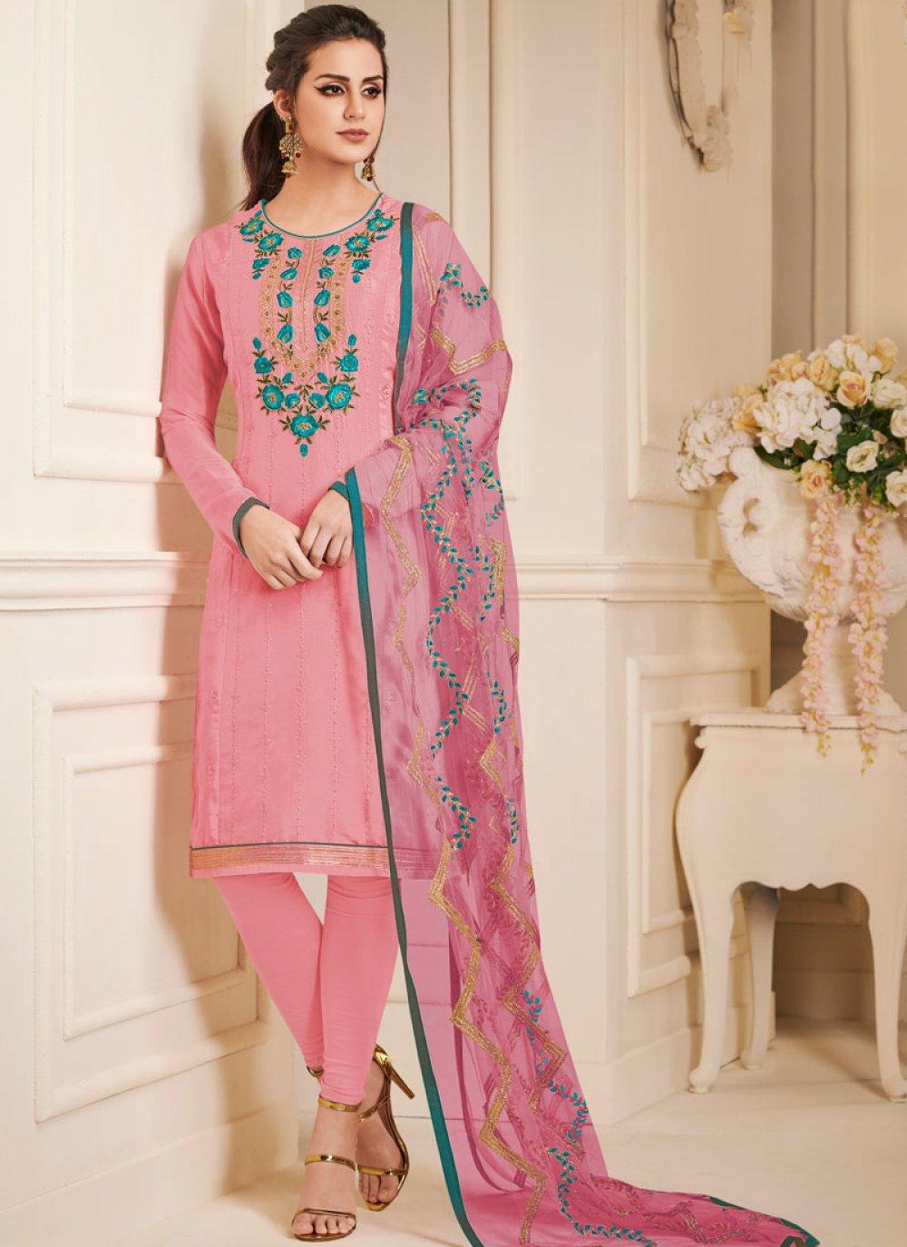 Art Silk Churidar Designer Suit in Pink