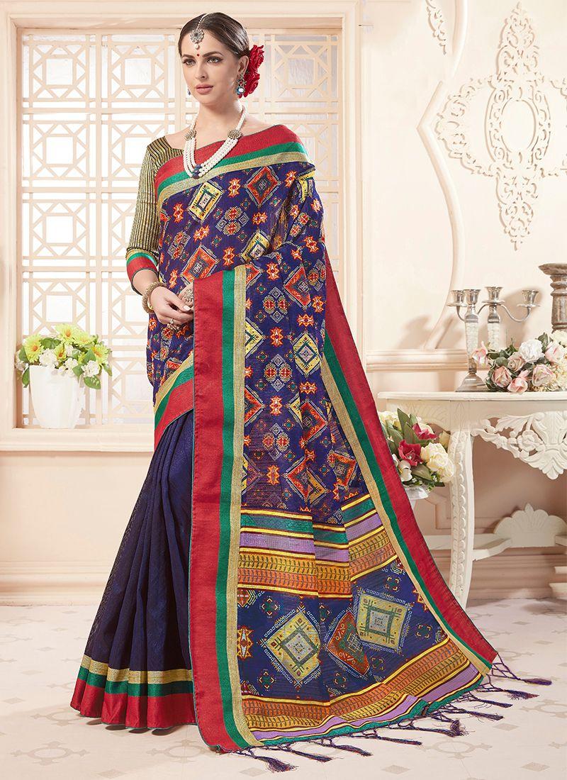 Art Silk Classic Saree in Beige and Violet