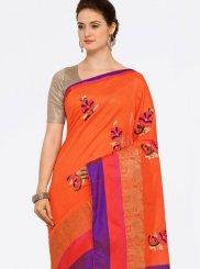 Art Silk Cotton Orange Casual Saree