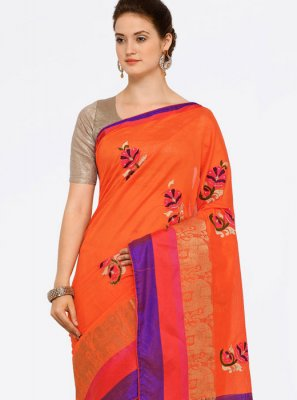 Art Silk Cotton Orange Casual Saree