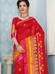 Art Silk Cotton Red Traditional  Saree
