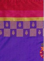 Art Silk Cotton Violet Casual Saree