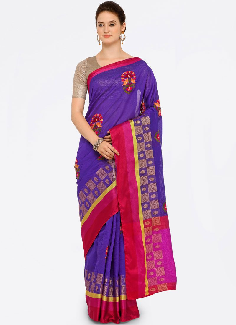 Art Silk Cotton Violet Casual Saree