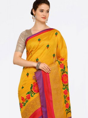 Art Silk Cotton Zari Work Casual Saree